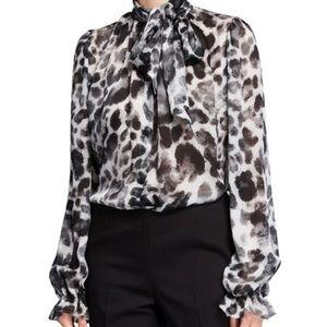 Naeem Khan silk leopard print chiffon tie blouse